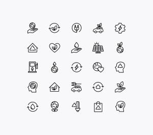能源&生态主题矢量线性一流设计素材网精选图标 Energy Source & Ecology Icons插图(1)