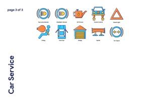70枚汽车服务主题填色线性一流设计素材网精选图标 Car Service Icon Set插图4