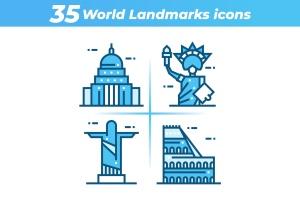 35枚世界地标主题矢量一流设计素材网精选图标 35 World Landmarks Icons插图1