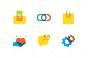 技术和社交媒体主题扁平设计风格矢量一流设计素材网精选图标集 Technology and social media – flat design icons插图1