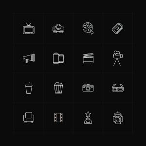 电影相关主题矢量线性一流设计素材网精选图标 Line Vector Cinema Icons插图(2)