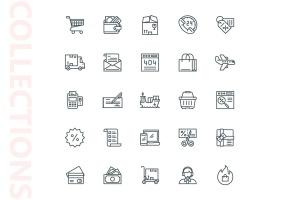 25枚网上购物电子商务矢量线性一流设计素材网精选图标v1 Shopping E-Commerce Line Icons插图4