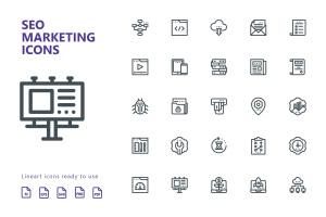 25枚SEO搜索引擎优化营销矢量线性一流设计素材网精选图标v1 SEO Marketing Line Icons插图(2)