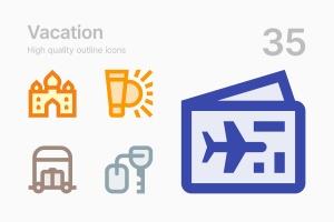 35枚假期主题轮廓线矢量一流设计素材网精选图标 Vacation插图(1)