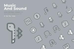 50枚音乐&声音主题矢量双色调一流设计素材网精选图标 50 Music and Sound Icons  –  Two Tone Style插图1