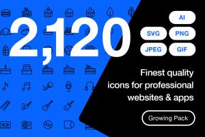 2120枚网站&APP设计师必备的矢量线性一流设计素材网精选图标集 Ultimate Icons Growing Pack插图1