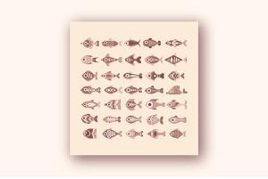 各种鱼类矢量一流设计素材网精选图标素材 Fish vector icon set (3 options)插图2