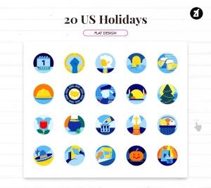 20枚美国历史元素主题一流设计素材网精选图标 20 US holiday elements插图2